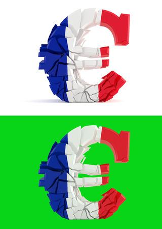 bandera francia: roto s�mbolo del euro - bandera de Francia - aislado en verde para composits