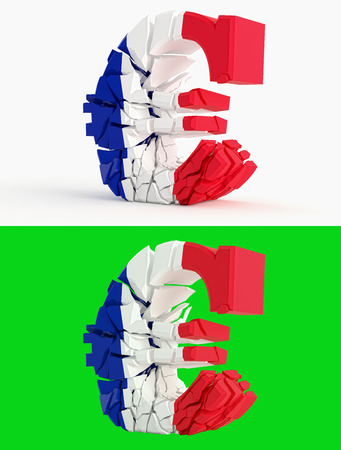 bandera francia: broken euro sign - france flag - isolated on green for composits