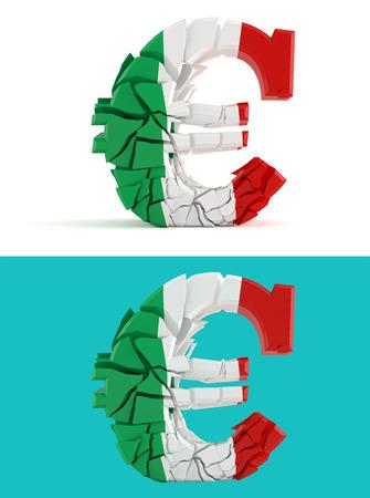 disintegrating: broken euro sign - italian flag - isolated for composits Stock Photo