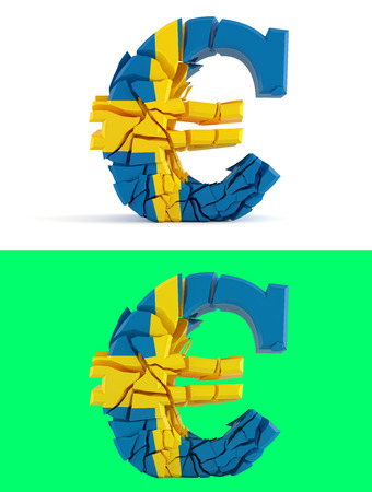 the swedish flag: broken euro sign - swedish flag - isolated on green for composits