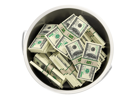 pot of money: 100 dollar bills in a bucket - isolated on white