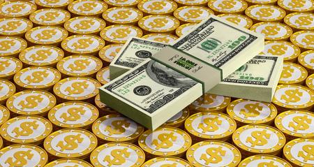 dollar bills: dollar bills and golden coins
