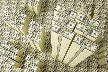 heap of dollar: Piles of Dollar bills
