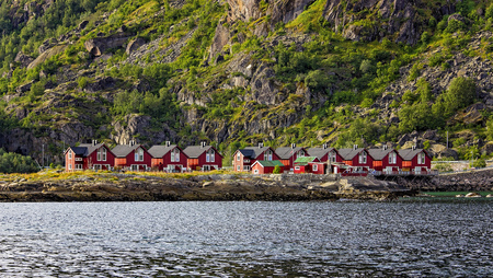 cottages: Fishermans Cottages - Lofoten Norway Stock Photo
