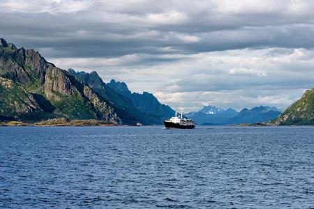 the north sea: Lofoten - Norway coastline with Ship