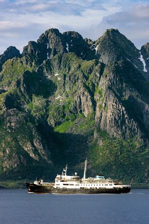coastline: Lofoten - Norway coastline with Ship