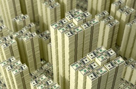 cash machine: Piles of dollar bills. Money Skyline