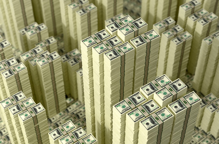 cash flow: Piles of dollar bills. Money Skyline
