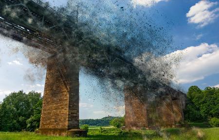 edited photo: Bridge Exploding - edited photo Stock Photo