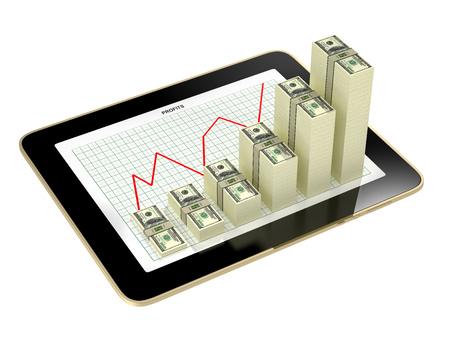 dollaro: grafici a barre dollaro che mostra crescere profitto - tablet