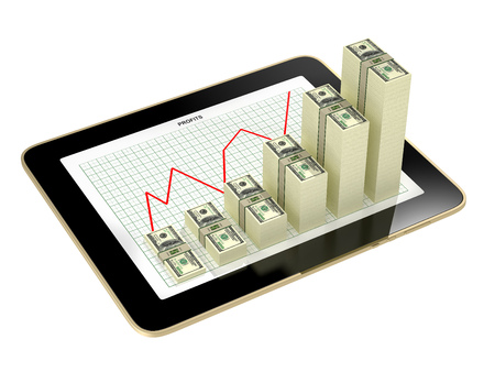 dollar: tablet - dollar bar graphs showing profit grow Stock Photo