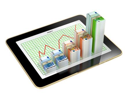 grow money: tablet - Money bar graph showing profit grow