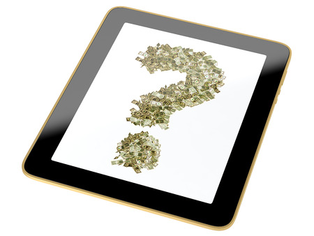 Question mark made from dollar bills on Tablet Stock Photo