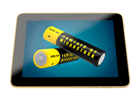 powered: Tablet - Batteries - Powered by Microstock Stock Photo