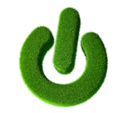 Green Power Button - Grass