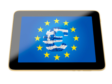 greece flag: tablet with broken euro sign - greece flag colors