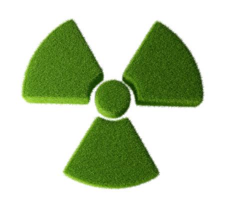 radioactivity: Radioactivity symbol made from grass - isolated on white background. Stock Photo