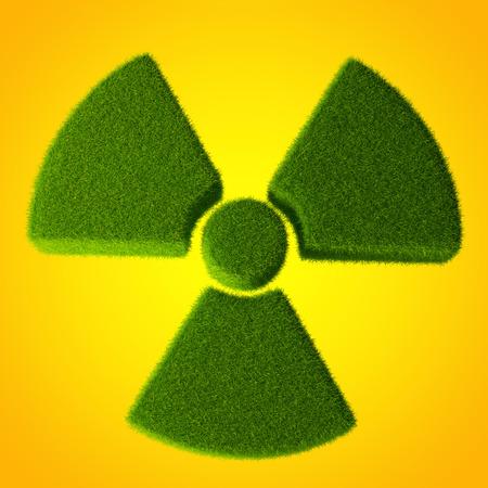 radioactivity: Radioactivity symbol made from grass Stock Photo