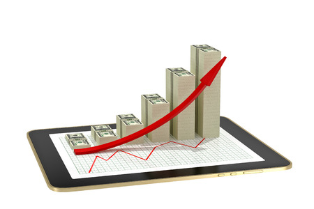 tablet - dollar bar graphs showing profit grow - isolated on white
