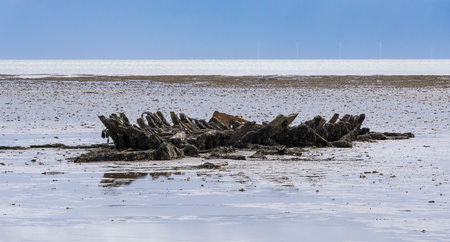 wrecked: Remains of a wrecked old wooden boat (Mariann) - Sylt Germany