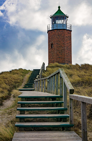 german north sea region: Lighthouse at Kampen - Sylt, Germany Stock Photo