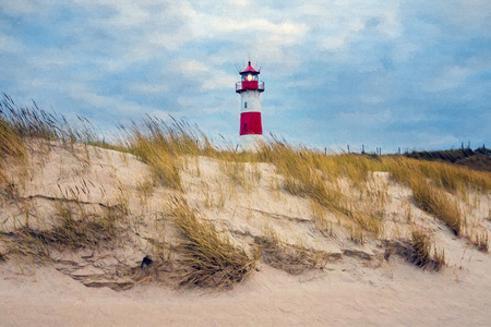 elevate: Digital painting - Lighthouse at List - Sylt, Germany