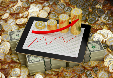 tablet - bitcoins and dollars - 3D Illustration