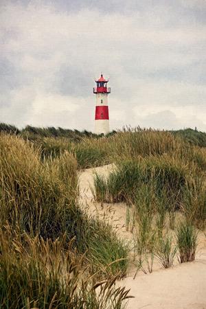 Het digitale schilderen - Vuurtoren bij List - Sylt, Duitsland Stockfoto