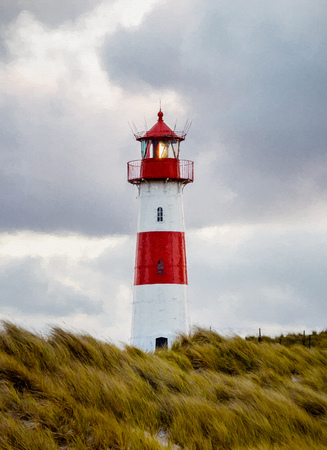 elevate: Lighthouse at List - Sylt, Germany - Digital painting