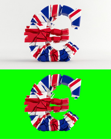 proposed: Proposed referendum on United Kingdom membership of the European Union - broken euro sign - united kingdom flag - isolated on green for composites - 3D rendering Stock Photo