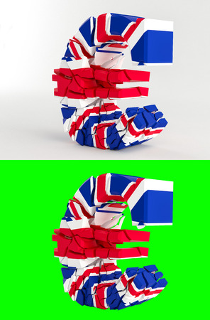 bailout: Proposed referendum on United Kingdom membership of the European Union - broken euro sign - united kingdom flag - isolated on green for composites - 3D rendering Stock Photo
