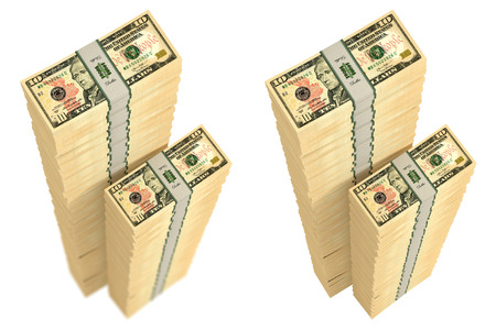 Piles of 10 dollar bills - with and without depth of field effect - 3D rendering