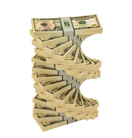 Dollar spiral - 3D rendering