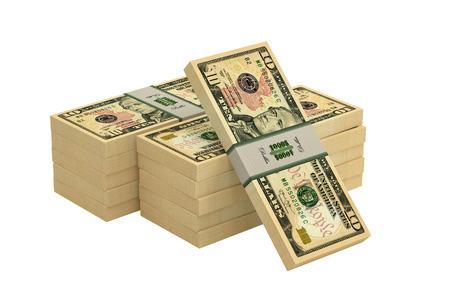 Piles of 10 dollar bills - 3D rendering Stock Photo