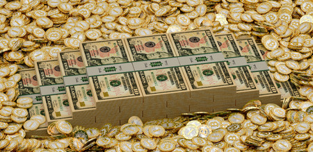 p2p: Bitcoins and dollars - 3d rendering