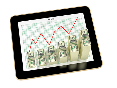 tablet - dollar bar graphs showing profit grow - 3d rendering Stock Photo