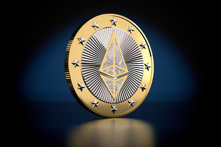Ethereum - Virtual Money - Cryptocurrency - 3D Rendering