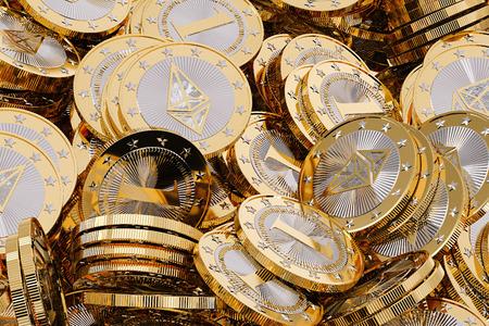 Ethereum - Virtual Money - Cryptocurrency - 3D Rendering Zdjęcie Seryjne - 80037904