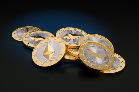 Ethereum - Virtual Money - Cryptocurrency - 3D Rendering