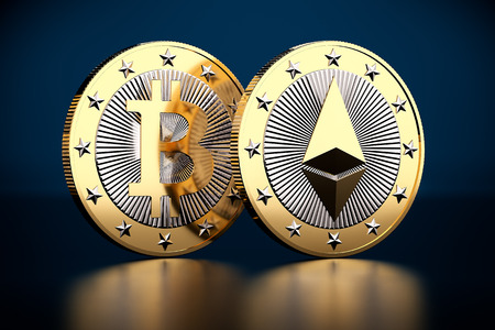 Two golden coins - Bitcoin and Ethereum - 3D Rendering
