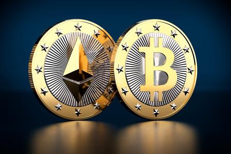두 개의 황금 동전 - Bitcoin 및 Ethereum - 3D 렌더링 스톡 콘텐츠 - 81870336