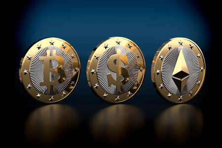 Three golden coins - Bitcoin, Dollar and Ethereum - 3D Rendering Banco de Imagens
