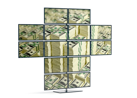Monitor wall showing an image of Piles of Dollar bills - 3D Rendering Stok Fotoğraf