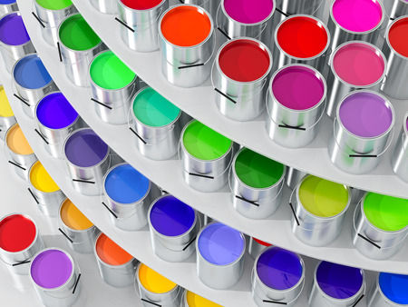 Silver Paint Buckets - 3D Rendering 写真素材