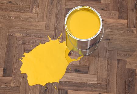 Silver Paint Bucket On Wooden Floor 3d Rendering Stock Photo