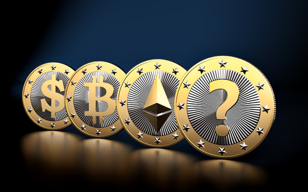 Cryptocurrency - What is the next BIG thing? - 3D rendering Stock Photo