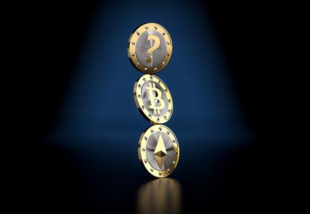 Cryptocurrency - What is the next BIG thing? - 3D rendering Zdjęcie Seryjne