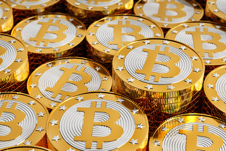 Bitcoin Stacks - 3D Rendering Stock Photo