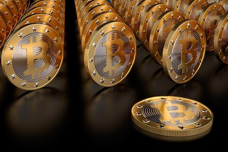 Rows of golden bitcoins on glossy black underground