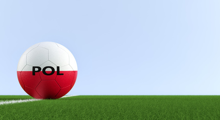 Soccer ball in Polands national colors on a soccer field. Copy space on the right side - 3D rendering